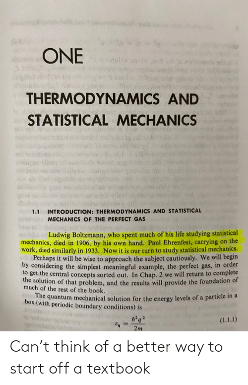 Textbook: Can't think of a better way to start off a textbook