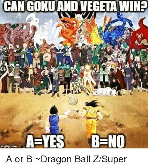 חג׎: CAN GOKUANDVEGETA WINS  CAN A YES B NO  mgrip Dom A or B ~Dragon Ball Z/Super