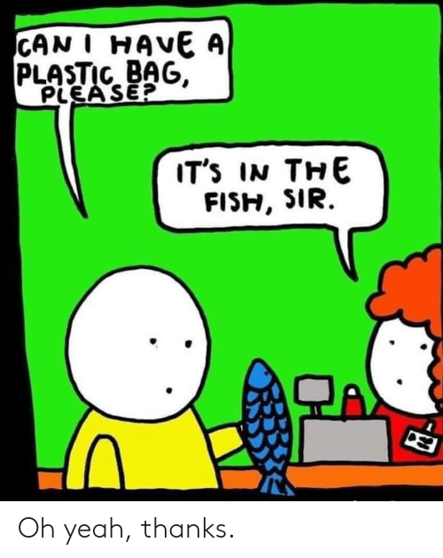 Can I Have: CAN I HAVE A  PLASTIC BAG,  PLEA SE?  IT's IN THE Oh yeah, thanks.
