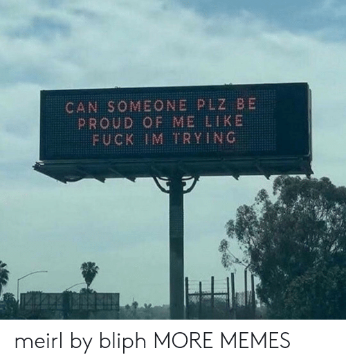 Proud Of Me: CAN SOMEONE PLZ BE  PROUD OF ME LIKE  FUCK IM TRYING meirl by bliph MORE MEMES