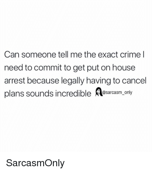 Crime, Funny, and Memes: Can someone tell me the exact crime l  need to commit to get put on house  arrest because legally having to cancel  plans sounds incredible esarasm.only SarcasmOnly