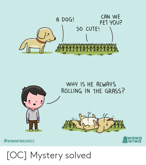 Cute, Wawa, and Mystery: CAN WE  PET YOU?  A DOG!  S0 CUTE!  WHY IS HE ALWAYS  ROLLING IN THE GRASS?  M  wawa  WIWA  @wawawiwacomics [OC] Mystery solved