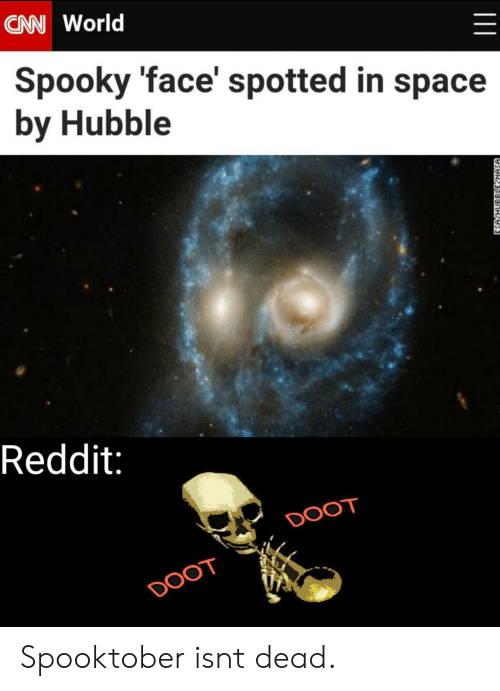 In Space: CAN World  Spooky 'face' spotted in space  by Hubble  Reddit:  DOOT  DOOT  ESA HUBBLLE NASA Spooktober isnt dead.