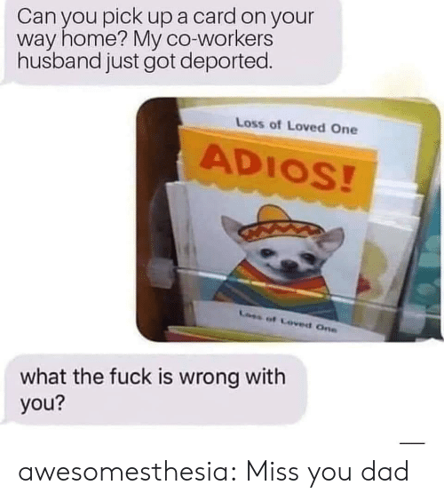 Dad, Tumblr, and Blog: Can you pick upa card on your  way home? My co-workers  husband just got deported.  Loss of Loved One  ADIOS!  Loes of Coved One  what the fuck is wrong with  you? awesomesthesia:  Miss you dad