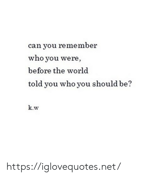 World, Net, and Who: can you remember  who you were,  before the world  told you who you should be?  k.w https://iglovequotes.net/