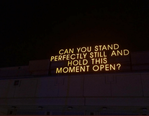 Can, Open, and Moment: CAN YOU STAND  PERFECTLY STILL AND  HOLD THIS  MOMENT OPEN'?