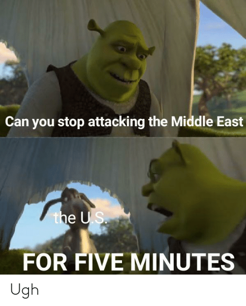 The Us: Can you stop attacking the Middle East  the US.  FOR FIVE MINUTES Ugh