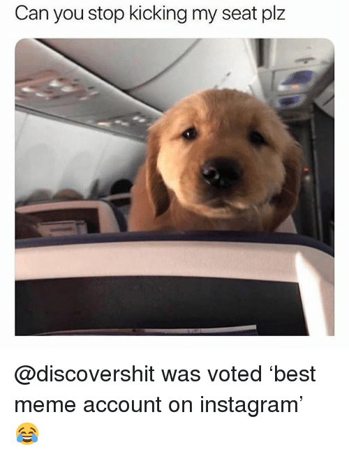 Funny, Instagram, and Meme: Can you stop kicking my seat plz @discovershit was voted 'best meme account on instagram' 😂