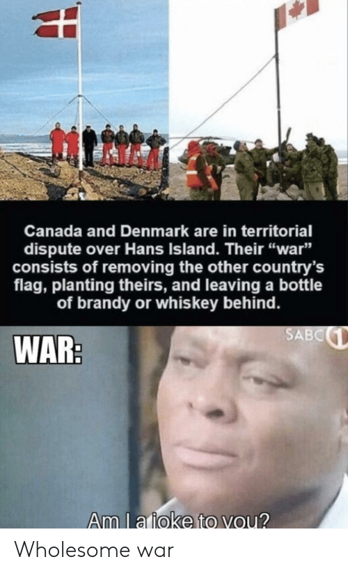 "Canada, Denmark, and Wholesome: Canada and Denmark are in territorial  dispute over Hans Island. Their ""war""  sists of removing the other country's  flag, planting theirs, and leaving a bottle  of brandy or whis key behind.  SABC  WAR:  Am l a ioke to you? Wholesome war"
