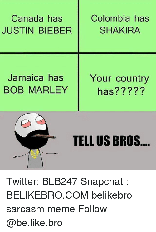 bobbing: Canada has  JUSTIN BIEBER  Colombia has  SHAKIRA  Jamaica has  BOB MARLEY  Your country  has?????  TELL US BROS Twitter: BLB247 Snapchat : BELIKEBRO.COM belikebro sarcasm meme Follow @be.like.bro