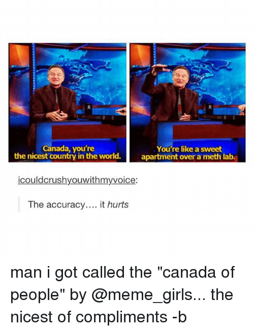 """Meme Girls: Canada, you're  You're like a sweet  the nicest country in the world.  apartment over a meth lab  icould crushyouwithmyvoice  The accuracy  it hurts man i got called the """"canada of people"""" by @meme_girls... the nicest of compliments -b"""