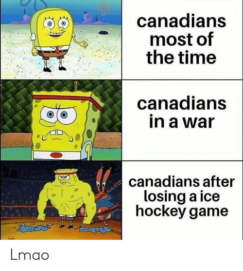 Canadians: canadians  most of  the time  anadians  in a war  o a  canadians after  losing a ice  hockey game Lmao