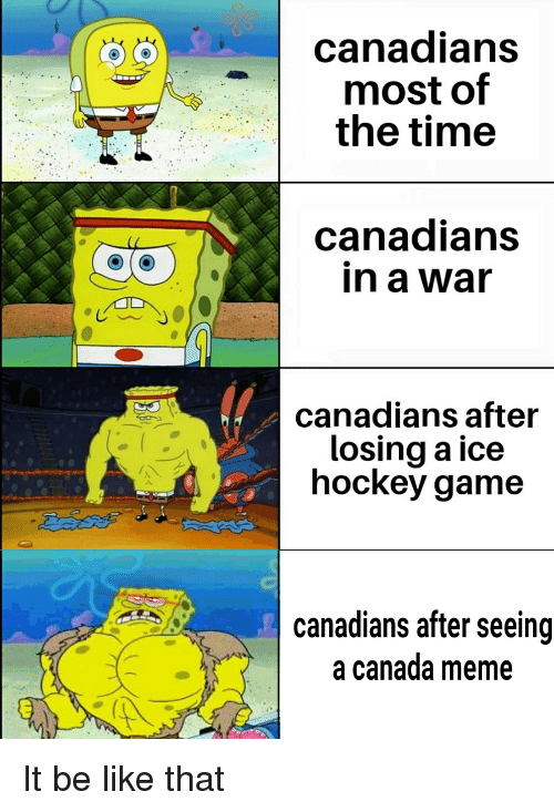 Canada Meme: canadians  most of  the time  canadians  in a war  canadians after  losing a ice  hockey game  canadians after seeing  a canada meme It be like that