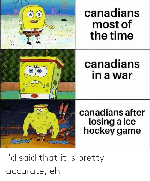 Canadians: canadians  most of  the time  canadians  in a war  canadians after  losing a ice  hockey game I'd said that it is pretty accurate, eh
