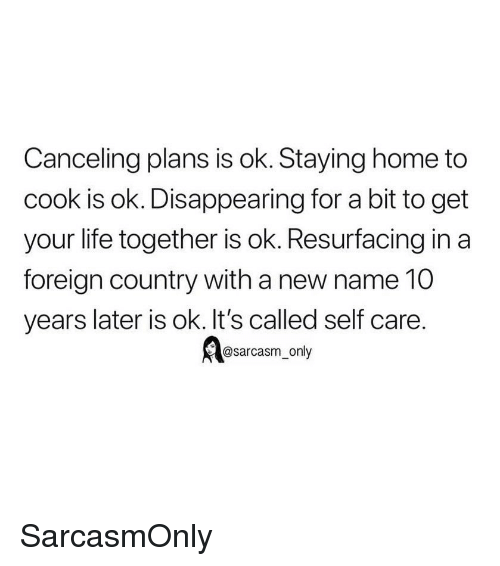 Funny, Life, and Memes: Canceling plans is ok. Staying home to  cook is ok. Disappearing for a bit to get  your life together is ok. Resurfacing in a  foreign country with a new name 10  years later is ok. It's called self care.  @sarcasm_only SarcasmOnly