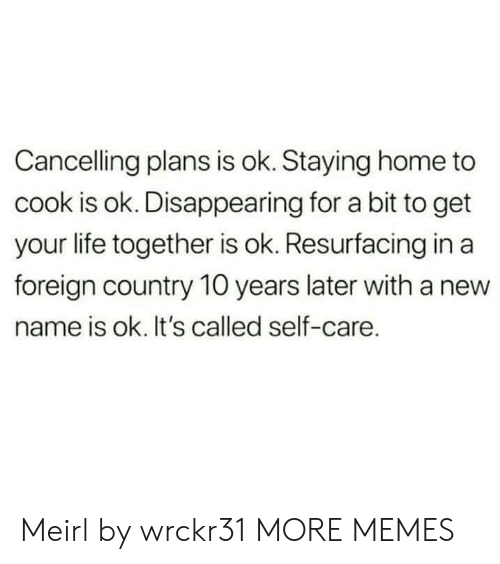 New Name: Cancelling plans is ok. Staying home to  cook is ok. Disappearing for a bit to get  your life together is ok. Resurfacing in a  foreign country 10 years later with a new  name is ok. It's called self-care. Meirl by wrckr31 MORE MEMES