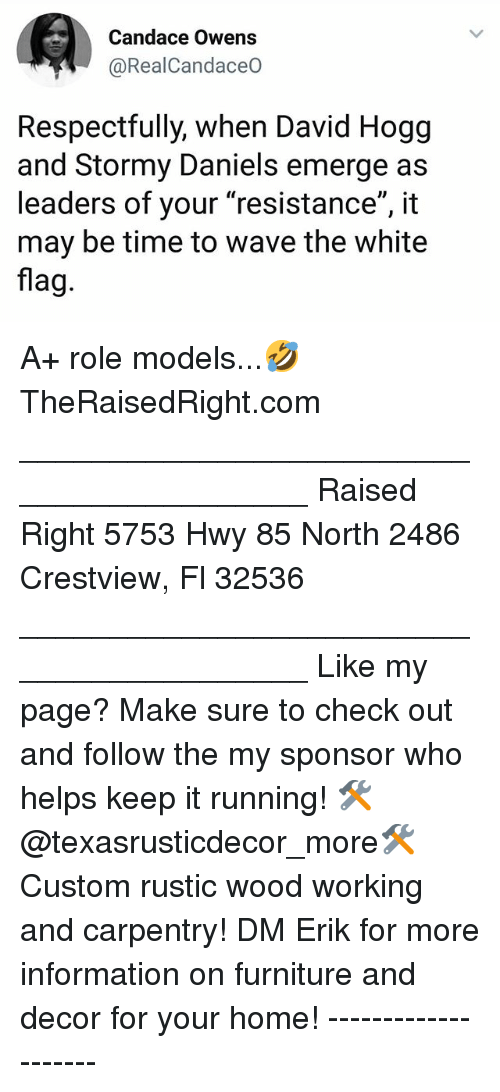 """Memes, Furniture, and Home: Candace Owens  @RealCandaceO  Respectfully, when David Hogg  and Stormy Daniels emerge as  leaders of your """"resistance"""", it  may be time to wave the white  flag A+ role models...🤣 TheRaisedRight.com _________________________________________ Raised Right 5753 Hwy 85 North 2486 Crestview, Fl 32536 _________________________________________ Like my page? Make sure to check out and follow the my sponsor who helps keep it running! 🛠@texasrusticdecor_more🛠 Custom rustic wood working and carpentry! DM Erik for more information on furniture and decor for your home! --------------------"""