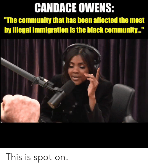 "Immigration: CANDACE OWENS:  ""The community that has been affected the most  by illegal immigration is the black community..."" This is spot on."