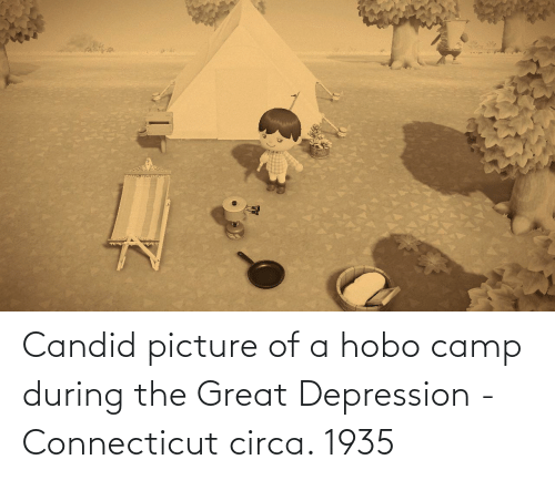 hobo: Candid picture of a hobo camp during the Great Depression - Connecticut circa. 1935