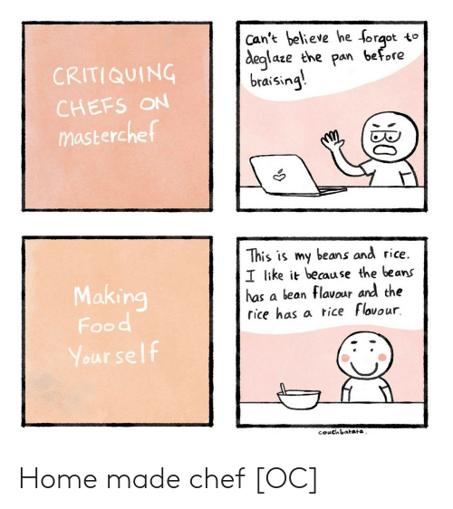 Chef: Can't believe he forqot to  before  deglaze the  pan  CRITIQUING  braising  CHEFS ON  masterchef  This is my beans and rice.  I like it because the beans  has a bean flavour and the  rice has a tice Flovour  Making  Food  Your self  couchbatata  BO Home made chef [OC]