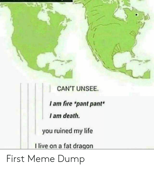 """First Meme: CAN'T UNSEE  I am fire """"pant pant*  I am death.  you ruined my life  live on a fat dragon First Meme Dump"""