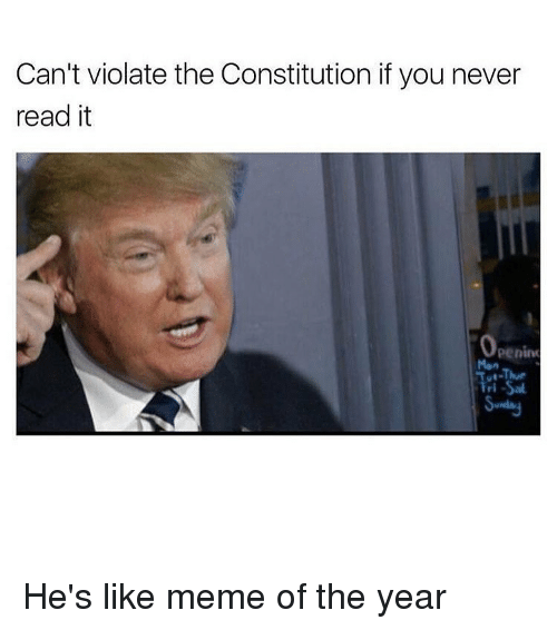 Like Meme: Can't violate the Constitution if you never  read it  Openim  Men He's like meme of the year