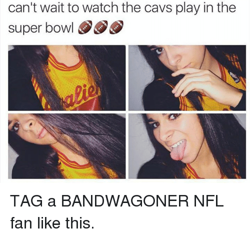 nfl fan: can't wait to watch the cavs play in the  super bowl S S TAG a BANDWAGONER NFL fan like this.