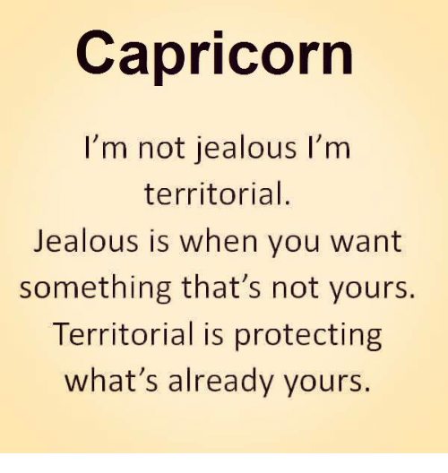 Jealous, Capricorn, and You: Capricorn  I'm not jealous I'm  territorial  Jealous is when you want  something that's not yours.  Territorial is protecting  what's already yours.