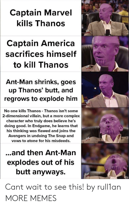 America, Butt, and Complex: Captain Marvel  kills Thanos  Captain America  sacrifices himself  to kill Thanos  Ant-Man shrinks, goes  up Thanos' butt, and  regrows to explode him  No one kills Thanos Thanos isn't some  2-dimensional villain, but a more complex  character who truly does believe he's  doing good. In Endgame, he learns that  his thinking was flawed and joins the  Avengers in undoing The Snap and  vows to atone for his misdeeds.  ...and then Ant-Man  explodes out of his  butt anyways. Cant wait to see this! by rull1an MORE MEMES