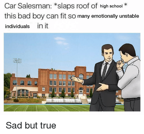 Bad, School, and True: Car Salesman: *slaps roof of high school*  this bad boy can fit so many emotionally unstable  individuals in it  田田田田 Sad but true