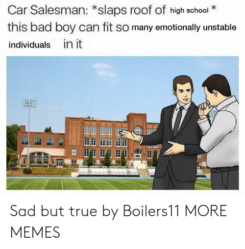 Bad, Dank, and Memes: Car Salesman: *slaps roof of high school*  this bad boy can fit so many emotionally unstable  individuals in it  田田田田 Sad but true by Boilers11 MORE MEMES