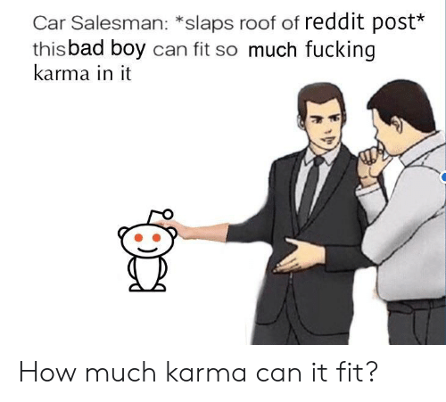It Fit: Car Salesman: *slaps roof of reddit post*  thisbad boy can fit so much fucking  karma in it How much karma can it fit?