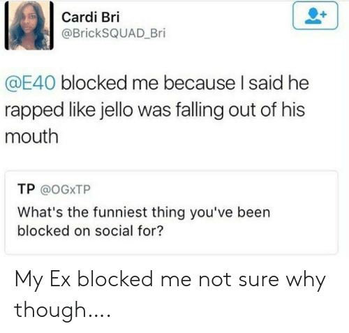 His Mouth: Cardi Bri  @BrickSQUAD Bri  @E40 blocked me because I said he  rapped like jello was falling out of his  mouth  TP @OGXTP  What's the funniest thing you've been  blocked on social for? My Ex blocked me not sure why though….