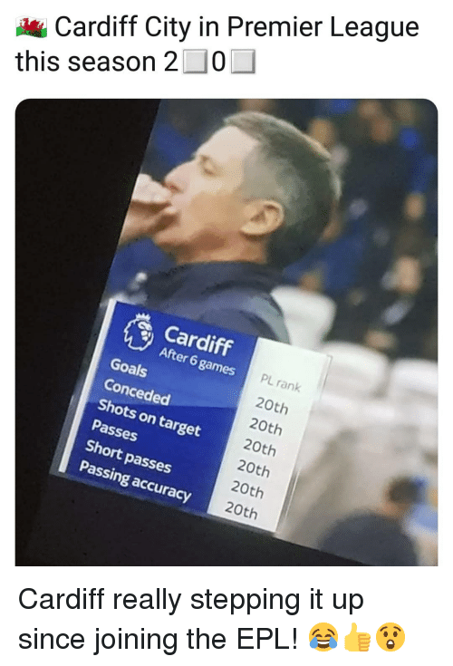epl: Cardiff City in Premier League  this season 2-0  Cardiff  After 6 games  Goals  Conceded  Shots on target  Passes  Short passes  Passing accuracy  PL rank  20th  20th  20th  20th  20th  20th Cardiff really stepping it up since joining the EPL! 😂👍😲