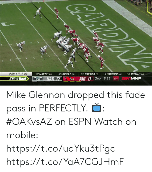 Espn, Martin, and Memes: CARDIN  14 HATCHER WR  85 CARRIER TE  45 INGOLD FB  ESP MNF  22 MARTIN RB  04  2 RB, 1 TE, 2 WR  ARI O2ND 8:32  DAK 17  2ND & Goal Mike Glennon dropped this fade pass in PERFECTLY.  📺: #OAKvsAZ on ESPN Watch on mobile: https://t.co/uqYku3tPgc https://t.co/YaA7CGJHmF