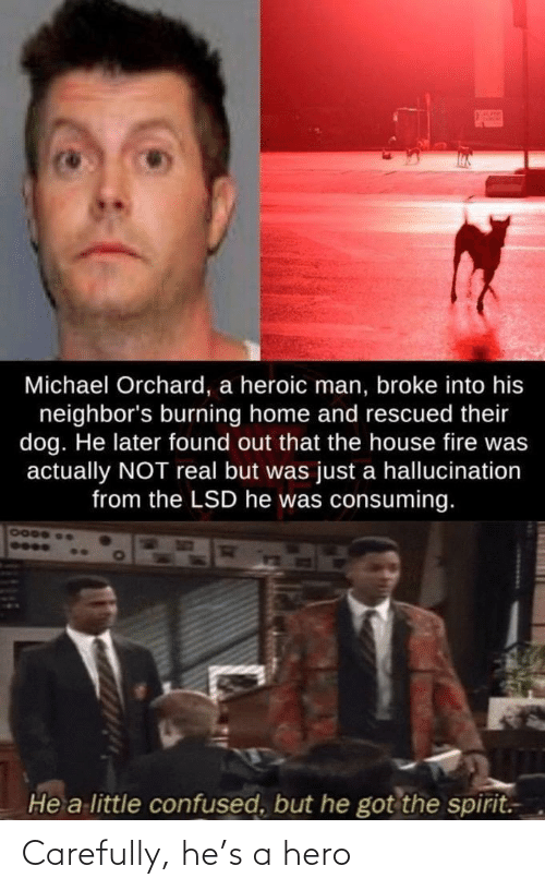 a hero: Carefully, he's a hero