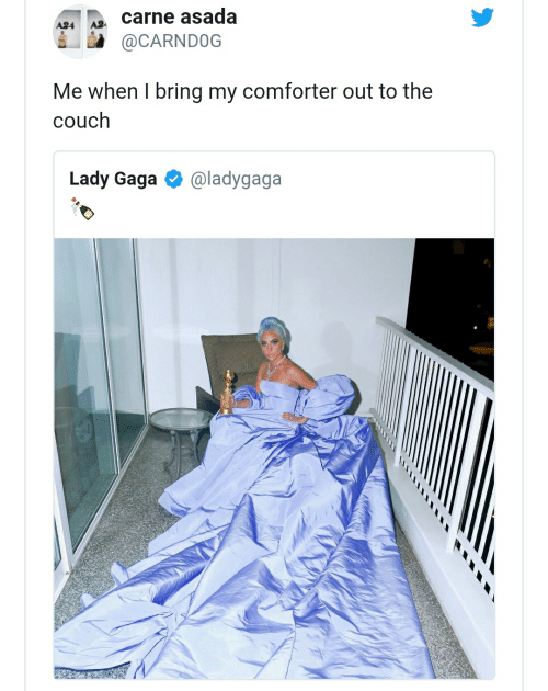 Lady Gaga, Couch, and Comforter: carne asada  A24  @CARNDOG  Me when I bring my comforter out to the  couch  Lady Gaga  @ladygaga