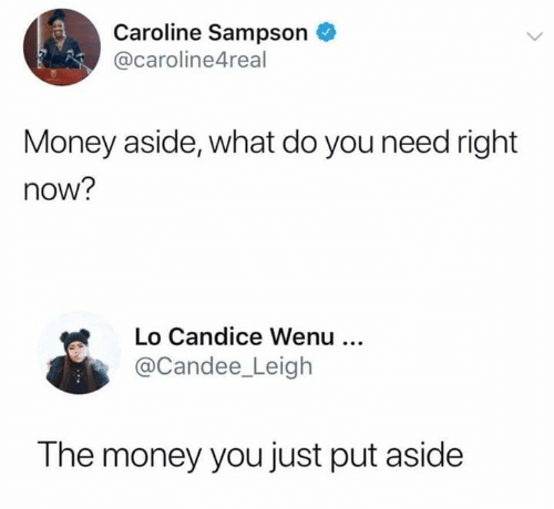 Memes, Money, and 🤖: Caroline Sampson  @caroline4real  Money aside, what do you need right  now?  Lo Candice Wenu  @Candee_Leigh  The money you just put aside