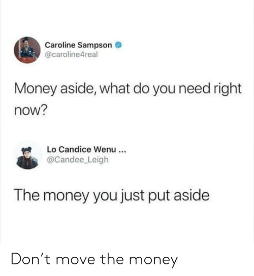 Do You Need: Caroline Sampson  @caroline4real  Money aside, what do you need right  now?  Lo Candice Wenu  @Candee Leigh  The money you just put aside Don't move the money