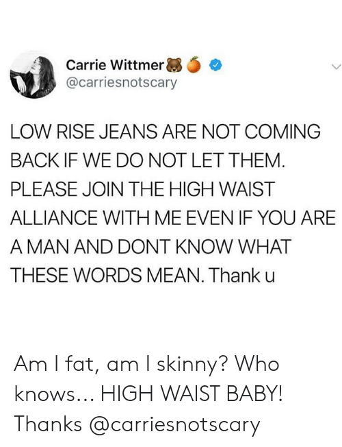 high waist: Carrie Wittmer ,.  @carriesnotscary  LOW RISE JEANS ARE NOT COMING  BACK IF WE DO NOT LET THEM  PLEASE JOIN THE HIGH WAIST  ALLIANCE WITH ME EVEN IF YOU ARE  A MAN AND DONT KNOW WHAT  THESE WORDS MEAN. Thank u Am I fat, am I skinny? Who knows... HIGH WAIST BABY! Thanks @carriesnotscary