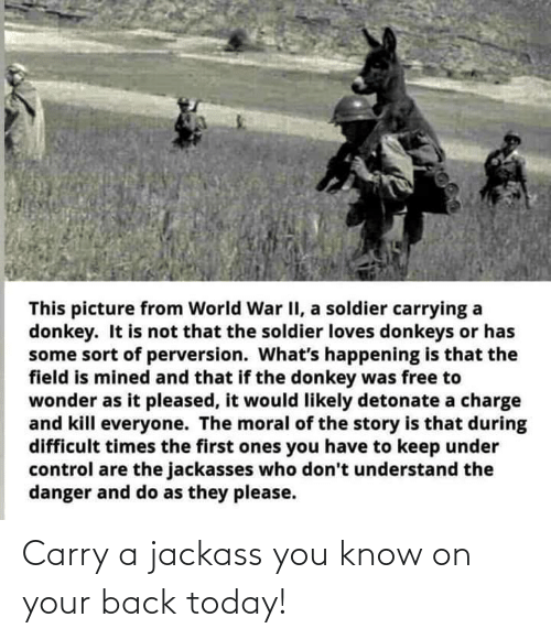 Carry: Carry a jackass you know on your back today!