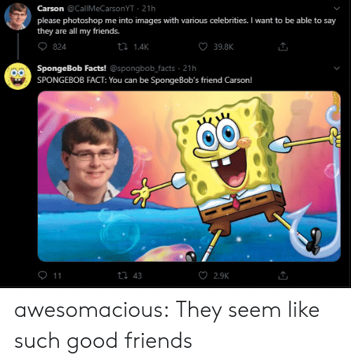 Carson: Carson @CallMeCarsonYT 21h  please photoshop me into images with various celebrities. I want to be able to say  they are all my friends.  ti 1.4K  39.8K  824  SpongeBob Facts! @spongbob_facts 21h  SPONGEBOB FACT: You can be Sponge Bob's friend Carson!  O 11  ti 43  2.9K awesomacious:  They seem like such good friends
