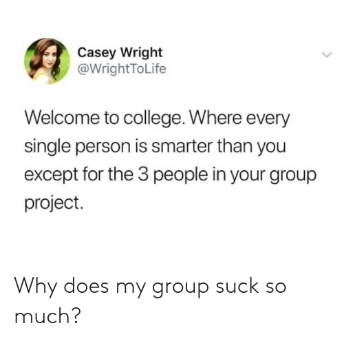 Wright: Casey Wright  @WrightToLife  Welcome to college. Where every  single person is smarter than you  except for the 3 people in your group  project. Why does my group suck so much?