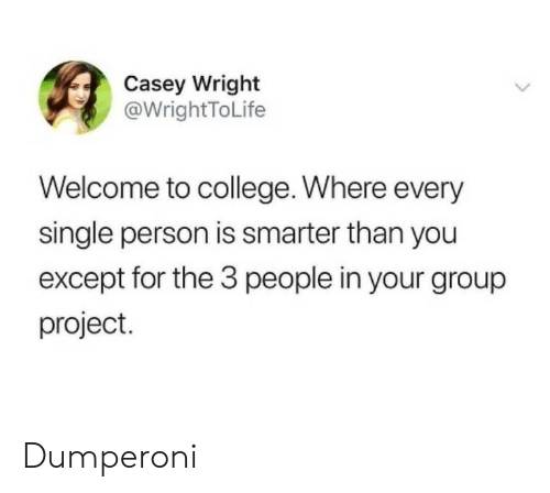 Wright: Casey Wright  @WrightToLife  Welcome to college. Where every  single person is smarter than you  except for the 3 people in your group  project. Dumperoni
