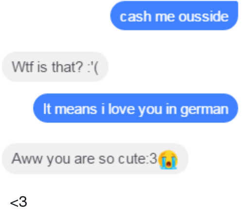You Are So Cute: cash me ousside  Wtf is that?  It means i love you in german  Aww you are so cute:3  j <3