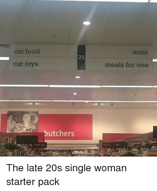 cat food: cat food  wine  23  cat toys  meals for one  butchers The late 20s single woman starter pack