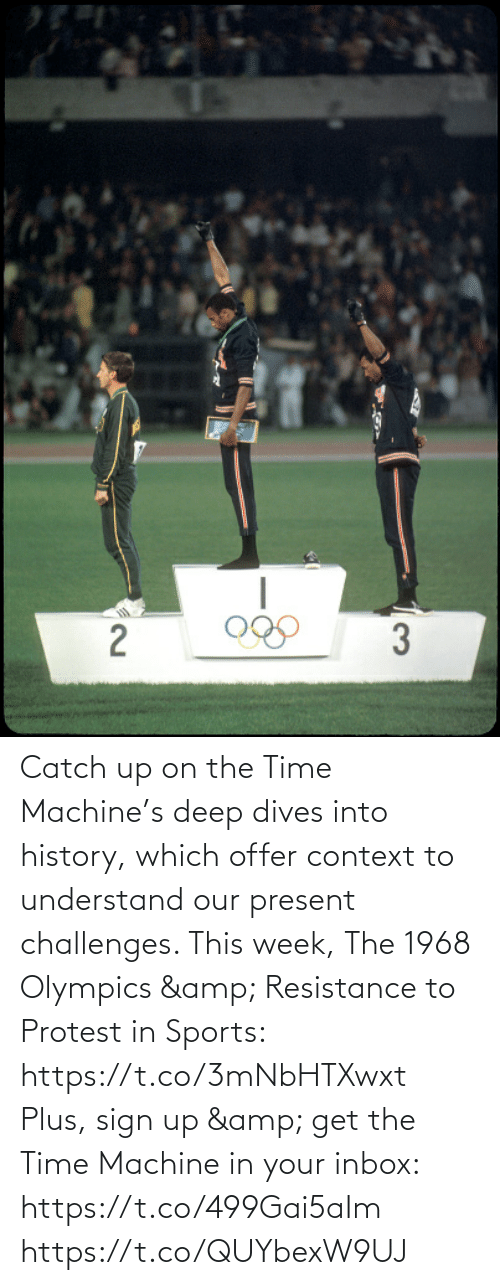 context: Catch up on the Time Machine's deep dives into history, which offer context to understand our present challenges. This week, The 1968 Olympics & Resistance to Protest in Sports: https://t.co/3mNbHTXwxt   Plus, sign up & get the Time Machine in your inbox: https://t.co/499Gai5aIm https://t.co/QUYbexW9UJ