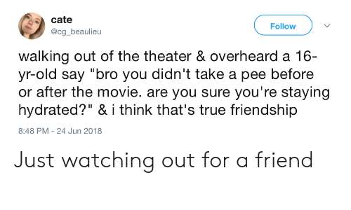 """Just Watching: cate  @cg_beaulieu  Follow  walking out of the theater & overheard a 16-  yr-old say """"bro you didn't take a pee before  or after the movie. are you sure you're staying  hydrated?"""" & i think that's true friendship  8:48 PM - 24 Jun 2018 Just watching out for a friend"""