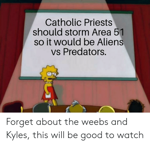 predators: Catholic Priests  should storm Area 51  so it would be Aliens  vs Predators. Forget about the weebs and Kyles, this will be good to watch