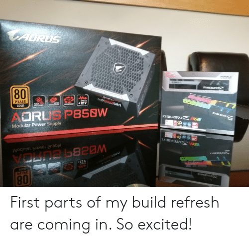 Power, Gold, and Smart: CAURUS  DDR4  G SKILL  TADETZ  80  LAMW  TG SKLL  APPSOGM  135  TOO  SMIGLE  +12V  SAPAN  CAPACITORS  PLUS  SMART FA  FULLY  MODULAR  TADEMZ  GOLD  TRIDENTZ RGB  AORL P858W  BC  Modular Power Supply  BC  VOLDR 820M  MARTRA  ISA  corD First parts of my build refresh are coming in. So excited!